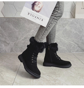 Image 2 - SWYIVY Martin buty buty kobieta Rabbit Fur ciepłe pluszowe 2019 zimowe nowe buty damskie Casual oryginalne skórzane buty śnieżne wysokie góry