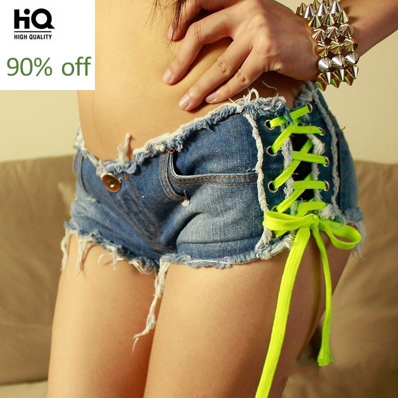 New Fashion Multi Color Women Jeans Female Shorts Lace Up Trouser Hot Pink Black Green Low Waist Fur Trim Sexy Hot Sale Trousers