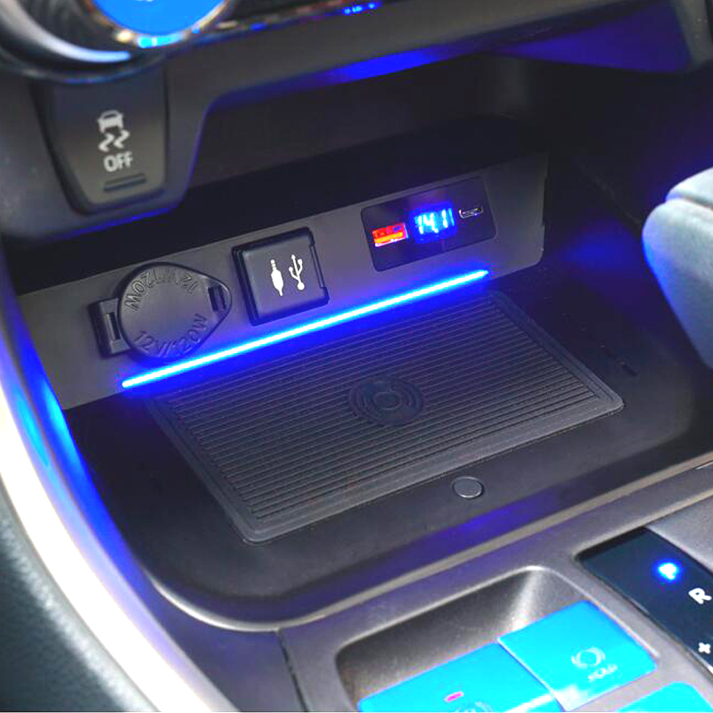 Car Qi Wireless Charging Fast Charger Car Charger Panel Phone Holder For Toyota RAV4 <font><b>RAV</b></font> <font><b>4</b></font> <font><b>2019</b></font> 2020 / Wildlander Accessories image