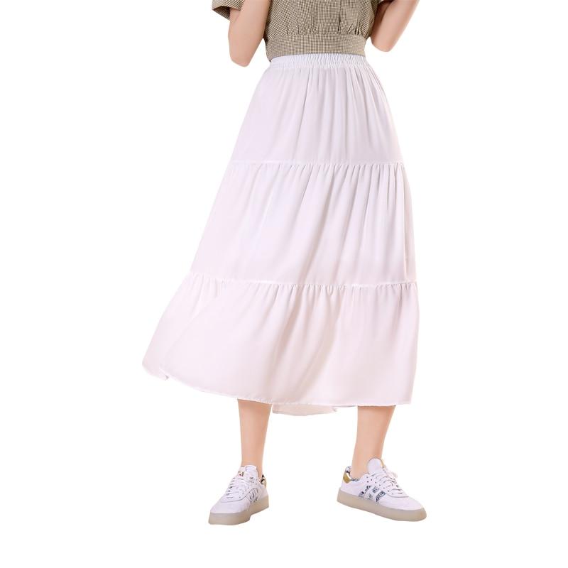 New Casual Tulle Skirt Mid-length A-line Wild White Pleated Skirt Elegant Ladies Date Shopping High Waist Slim Loose Cake Skirt