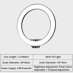 Image 5 - חדש ניתן לעמעום LED סטודיו מצלמה טבעת אור שלושה מהירות Selfie טבעת אור עם טלפון מחזיק חצובות עבור Youtube איפור וידאו חי