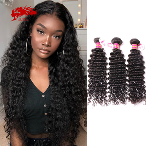Ali Queen One-Donor Brazilian Unprocessed Virgin Human Hair Weaving Extension Deep Wave Bundle Natural Color 30Inch Double Drawn(China)
