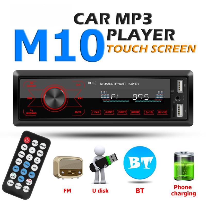 M10 Auto Radio 1 Din Bluetooth Car Stereo MP3 Player 7 Color Light Touch Keys Support SD FM AUX USB Mobile Handsfree Connection