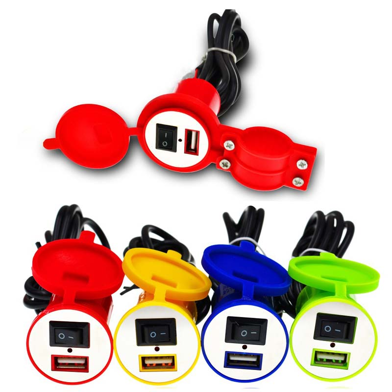 New waterproof motorcycle <font><b>USB</b></font> car <font><b>charger</b></font> switch scooter modified mobile phone <font><b>charger</b></font> switch with 120cm cable <font><b>12V</b></font> Red blue image