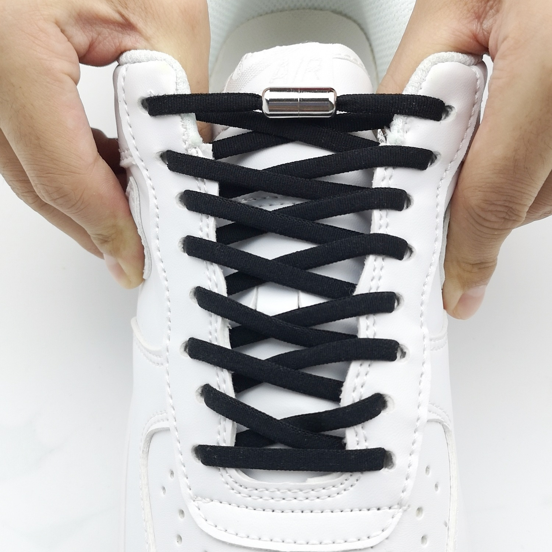1Pair Metal Lock Shoelaces Round Elastic Shoe Laces Special No Tie Shoelace for Men Women Lacing Rubber Zapatillas