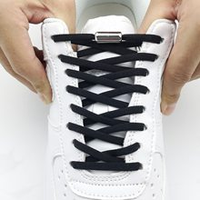 1Pair Metal Lock Shoelaces Round Elastic Shoe Laces Special No Tie Shoelace for Men Women Lacing Rubber Zapatillas