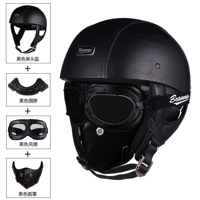 Retro Schädel moto rcycle helm Vintage PU Leder halb helm Elektrische moto rbike roller helm moto casco mit Brille und maske