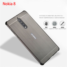 For New Nokia 8 Case Brushed PC Back Cover & Metal Aluminum