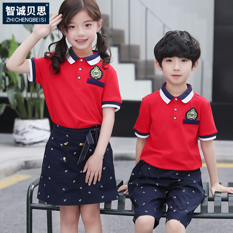 Children Young STUDENT'S School Uniform Summer Kindergarten Suit Summer Wear Graduation Business Attire Short Sleeve T-shirt Sum