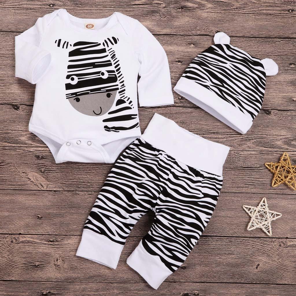 Одежда для маленького мальчика, для новорожденных, для маленьких мальчиков и девочек нижнее белье с принтом зебры печати Топы Брюки шляпы, к...