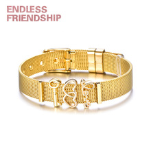 все цены на Endless Friendship Gold Color Stainless Steel Mesh Bracelet Set Gold Love Lock Charms Bracelet Bangle for Woman Jewelry Gift