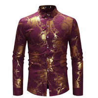 Fashion Floral Print Shirt Mens Stand Collared Top Shirt Gold Rose Flower Hippie Club Dance Shirt High Collar For Men Clothes