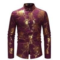 Fashion Floral Print Shirt Mens Stand Collared Top Shirt Gold Rose Flower Hippie Club Dance Shirt High Collar For Men Clothes