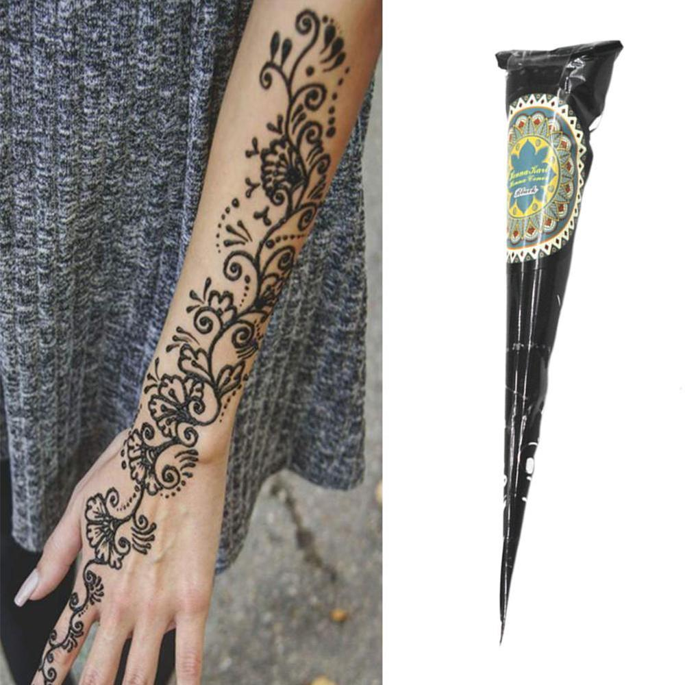 Black Brown Red White Henna Cones Indian Henna Tattoo Paste For Temporary Tattoo Body Art Sticker Mehndi Body Paint Wholesale