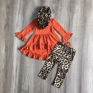 Image 5 - Nuevo otoño/invierno Bebé niñas 3 piezas bufanda niños ropa mostaza leopardo vestido top algodón manga larga trajes volantes boutique