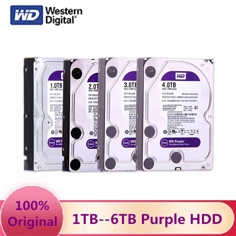 Жесткий диск Western Digital WD фиолетовый HDD 1 ТБ 2 ТБ 3 ТБ 4 ТБ 6 ТБ SATA III 6,0 ГБ/сек. 3,5
