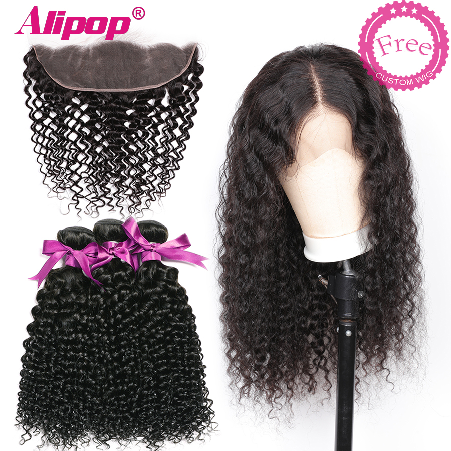 Free Customized Malaysian Curly Bundles With Frontal <font><b>300</b></font> <font><b>Density</b></font> 4x13 <font><b>Lace</b></font> Frontal <font><b>Wig</b></font> Alipop Remy Human Hair Curly <font><b>Wigs</b></font> image