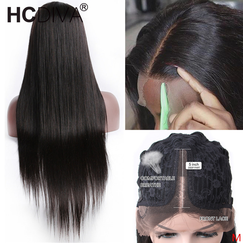 Straight Lace Part Wig 10--24inch 150% Remy Brazilian Human Hair Wig Pixie Cut Wig 5inch Deep Part Lace Wig For Black Women