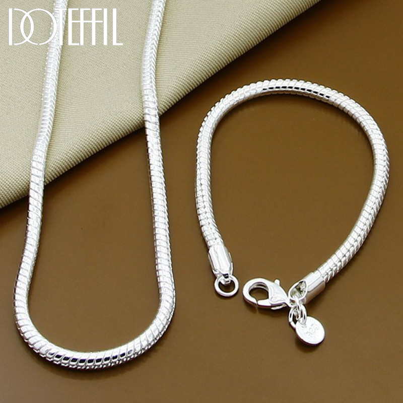 DOTEFFIL 925 Sterling Silver Solid Snake Chain Bracelet Necklace For Women Men Brand Sets Fashion Charm Jewelry