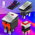 LANBOO High-End Quality KCD4 KCD3 Metal Square Waterproof Rocker Switch 20A 16Amp Current Push Button 2no2nc with LED 12V24V220V
