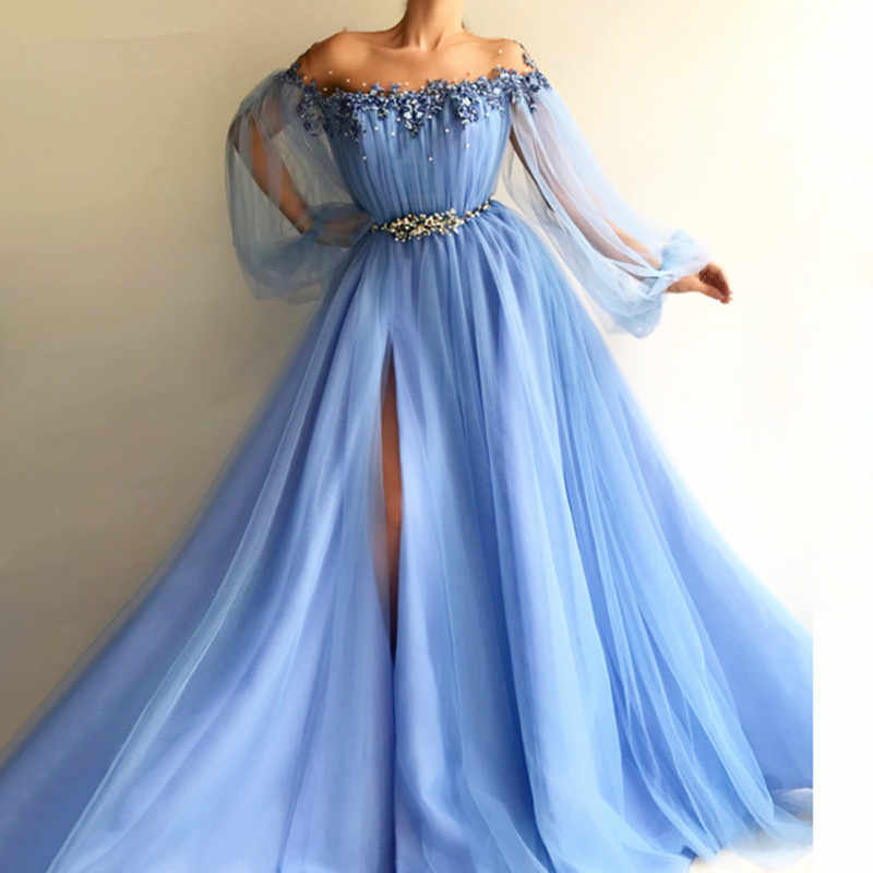 Manica lunga vestito convenzionale Delle Donne вечернее платье Elegante abiti Con In Rilievo Sash Alta Split Side Tulle Bella robe de soiree