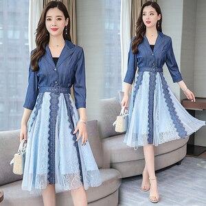 Kobiety wiosna lato 2020 sukienka jeansowa elegancka siateczka Mesh V Neck sukienki damskie w stylu Vintage koreański Vestido Jeans KJ5202