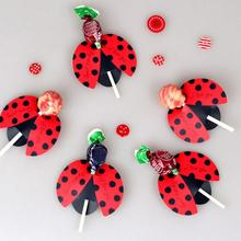50pcs/lot Candy Lollipop Decoration Gift Cute Bees Ladybug Butterfly Design Lollypop Card Lovely Props For Kids Birthday Party