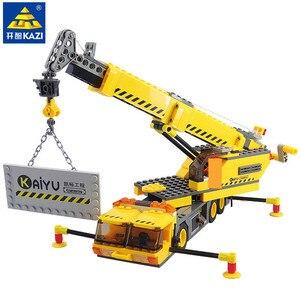 Image 2 - 380 sztuk miasto żuraw ciężarówka urządzenie inżynieryjne budowa Technic zestawy klocków budowlanych Playmobil DIY montaż cegieł zabawki dla dzieci