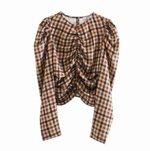 Donne Chic Plaid Crop Top a Scacchi Design a Pieghe Cerniera Laterale Manica Lunga Corta Camicetta Donna Camicie Casual Blusas(China)