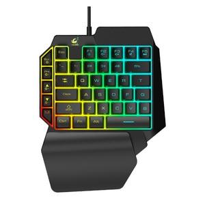 Image 5 - One handed Ergonomic Universal Laptops Wired USB Gaming LED Backlight Home 39 Keys Office Mobile Phone Keypad Keyboard