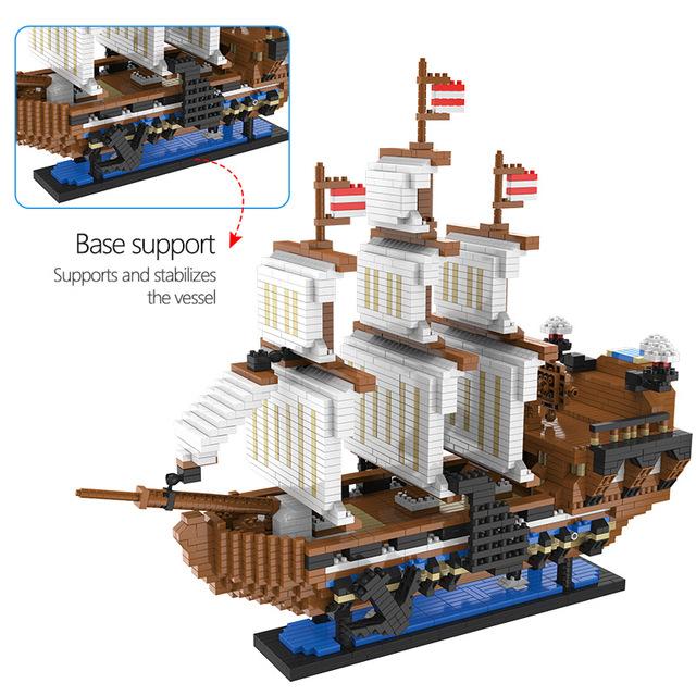 Toys For Children Mini Blocks Caribbean Pirate 3D Model Sailing Black Pearl Ship Boat Queen Annes DIY Diamond Building Blocks