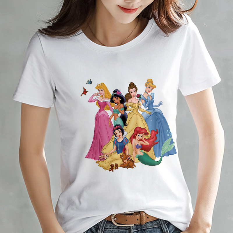 Harajuku Summer T Shirt Cartoon Jasmine Princess Cinderella Printing T-shirt Fashion Korean Kawaii Streetwear Women Top Tshirt