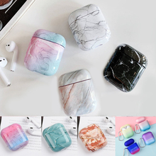 For AirPods Case luxury colorful marble Gradient color Pattern Protective hard Cover sFor Airpods 2 Bluetooth Earphone