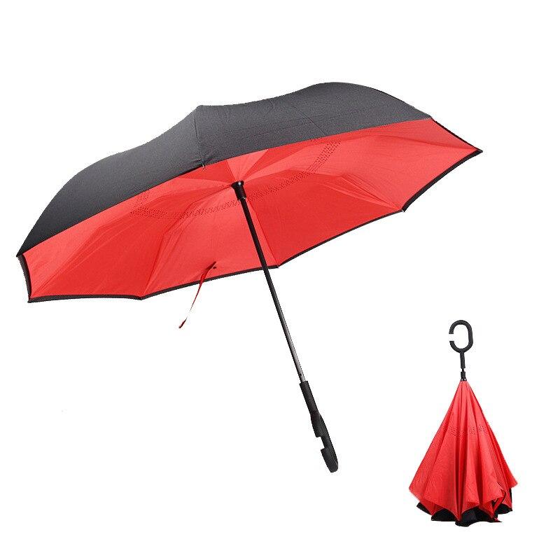 Reverse Umbrella 8 Bone Automatic Qi Che San Reverse Long Handle Umbrella Double Layer Dual Purpose C- Shaped Umbrella Creative