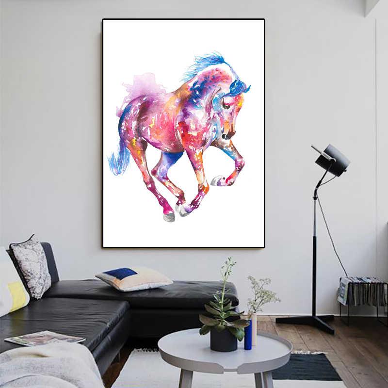 Diament malarstwo zwierząt akwarela różowy koń płótnie diament haft Cross Stitch boże narodzenie nowy rok dekoracje dla domu