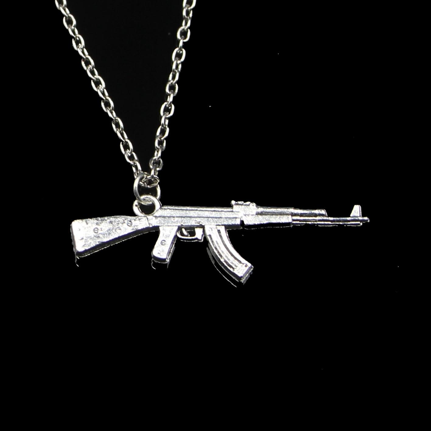 Модные 44*15 мм пулемет Штурмовая винтовка кулон ожерелье цепочка для женщин колье ожерелье креативные ювелирные изделия вечерние подарок