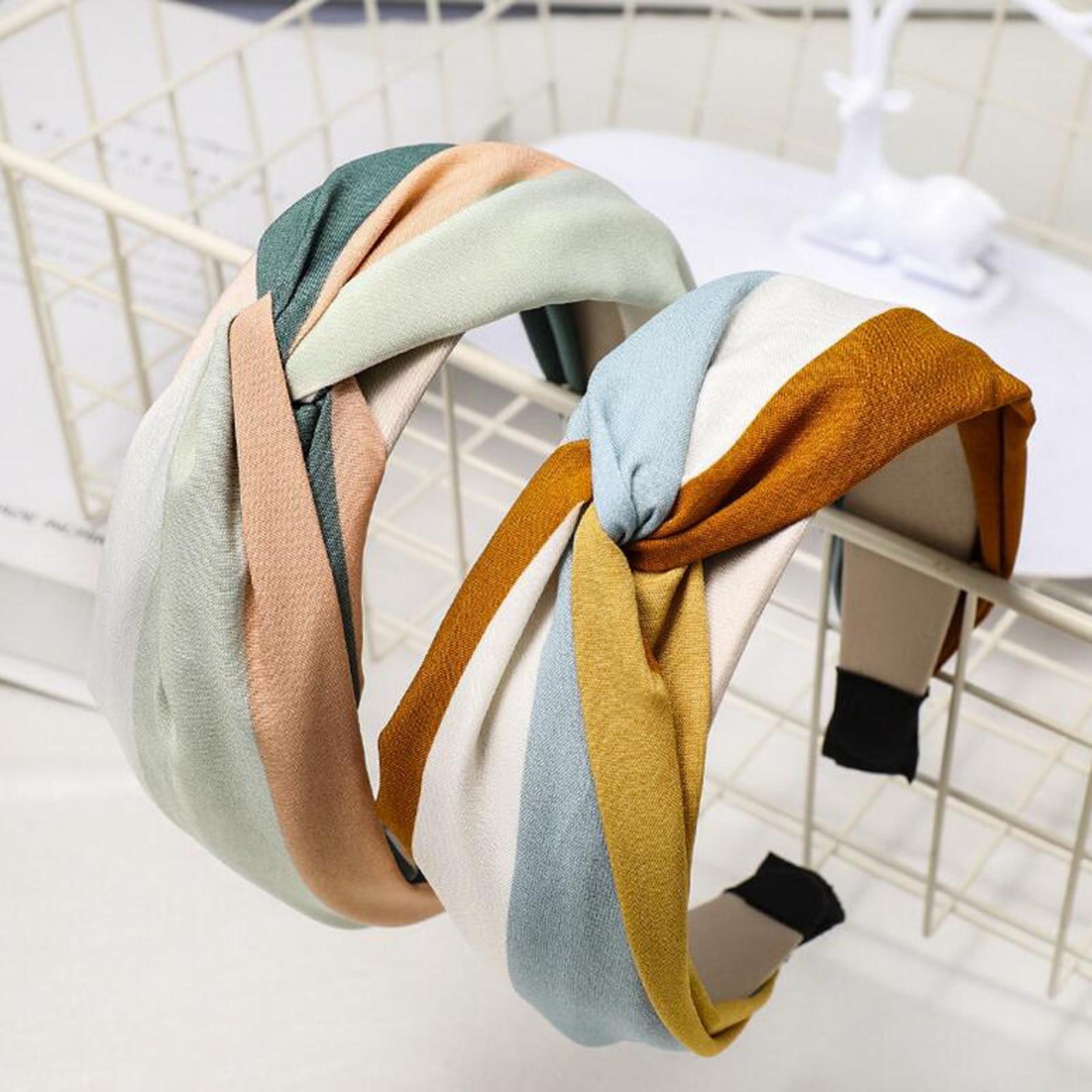 New Fashion Women Hairband Wide Side Headband Cross Knot Turban Classic Striped Headwear Girls Hair Accessories Drop Shipping(China)