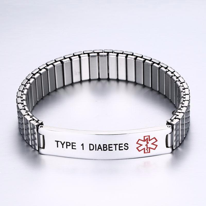 Gravado Diabetes Médica Alerta Pulseira Metal Elástico Prata Cor Unisex Jóias