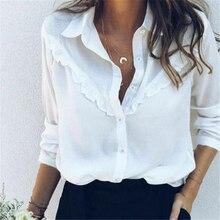 Women Shirts Elegant White Blouse Long Sleeve Loose Blouse OL Ladies