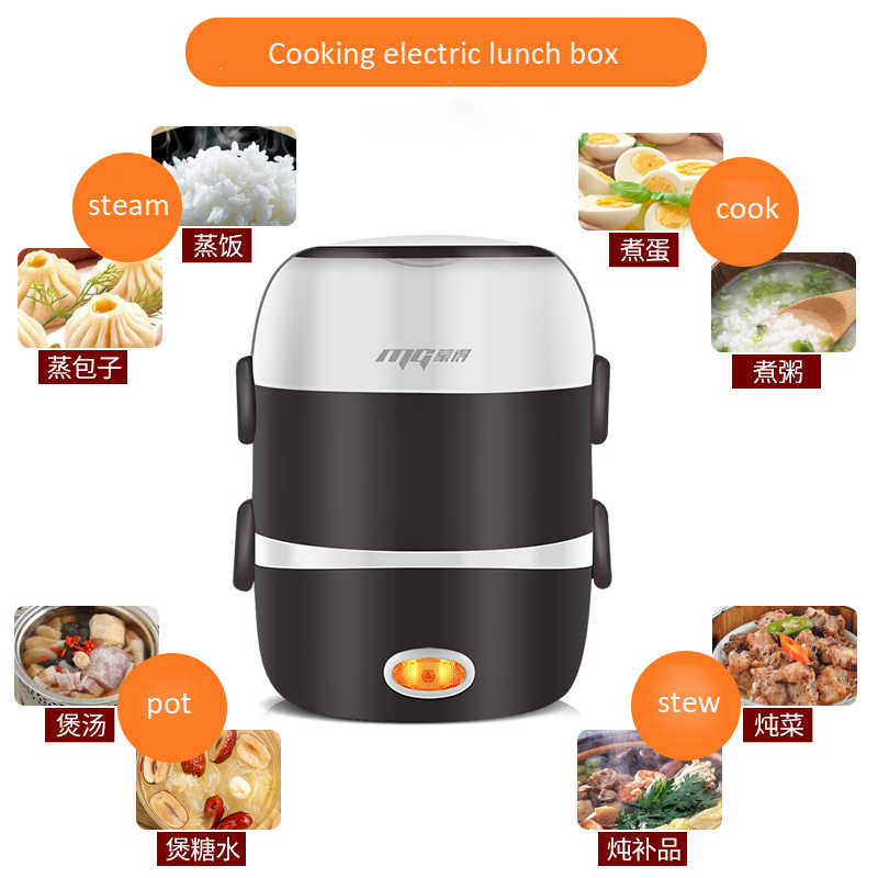 مصغرة وعاء طبخ أرز كهربائي الفولاذ المقاوم للصدأ 2/3 طبقات باخرة المحمولة وجبة الحرارية التدفئة الغداء صندوق لحفظ الطعام أدفأ