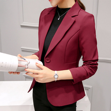 Women blazers 2019 ladies tops button solid Single Button Notched Pockets Office Lady blazer feminino pink and black blazer 0337 black single button blazer with irregular hem