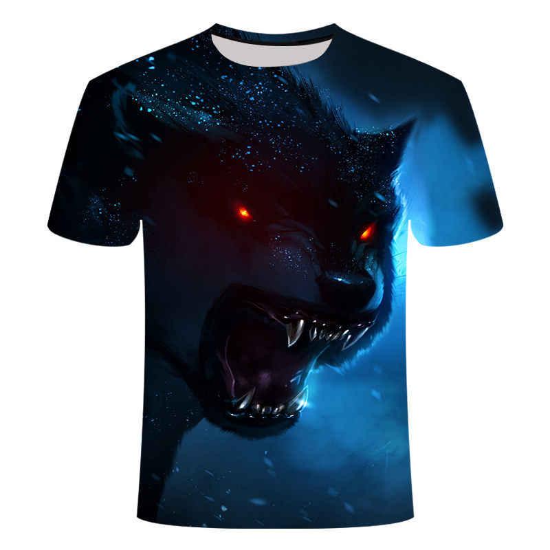 2020 nuovo Lupo 3D stampato animale fresco divertente T-shirt manica corta da uomo camicia di estate T-shirt da uomo T-shirt di moda uomini 6XL