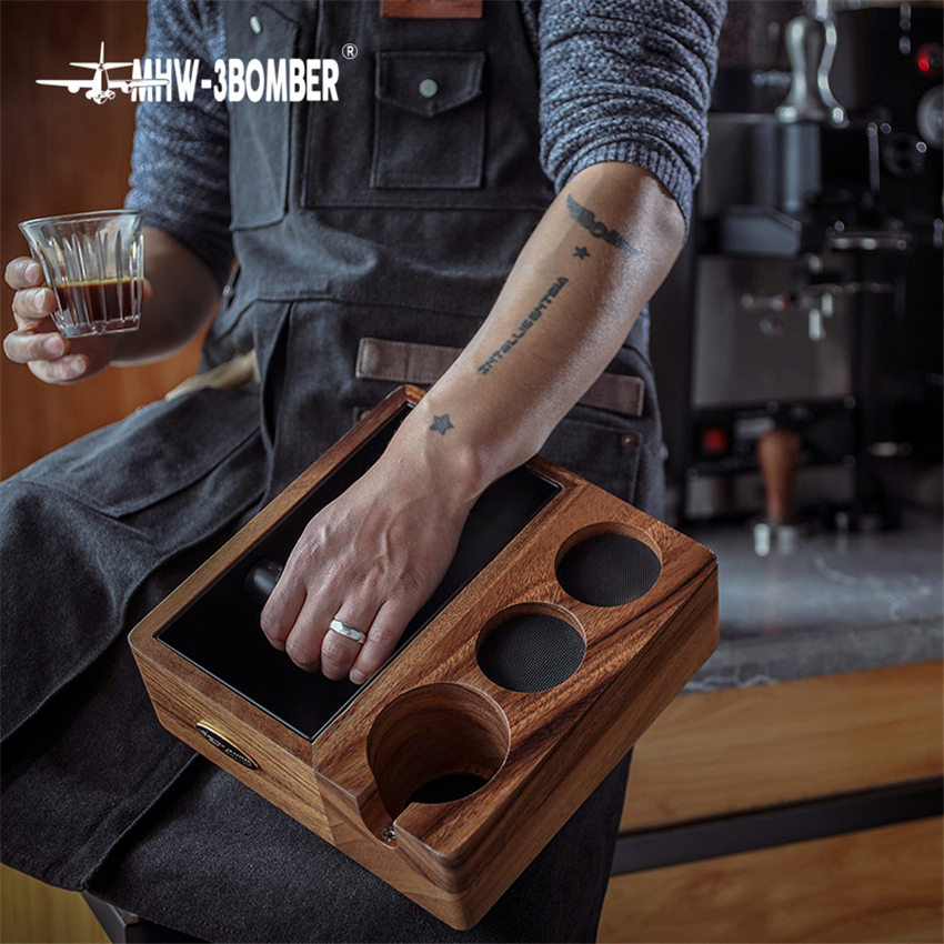Wood Coffee Filter Tamper Holder Espresso Tamper Mat Stand  Cafe Tools Knock Box Slag Box Coffee Accessories for Barista