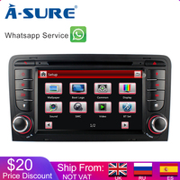 A Sure 7 Inch 2 Din Cortex A9 Car Auto Radio Stereo GPS Navigation For AUDI A3 S3 RS3 8V 8PA DAB+ 3G Bluetooth CD DVR DTV