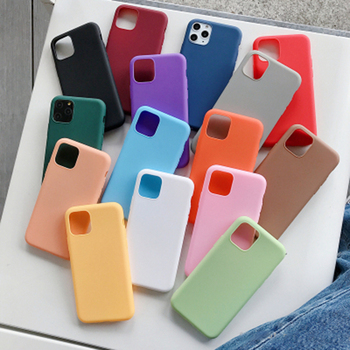 For iphone 11 Case Candy Color Soft Silicone Cover For iphone X XR XS 11 Pro Max 7 8 6 SE 2 2020 Simple CoupleS Solid Color Case image