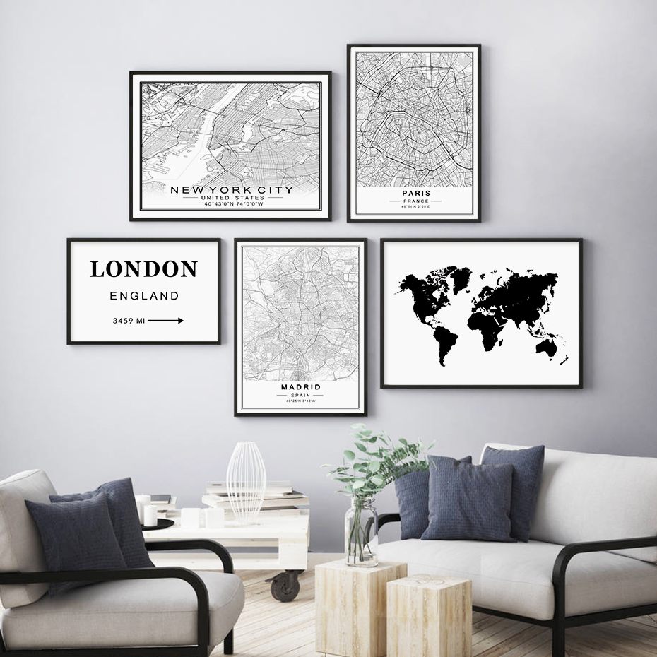 Modern New York Paris London City World Maps Custom Made Black White Canvas Paintings Poster Print Wall Art Picture Home Decor