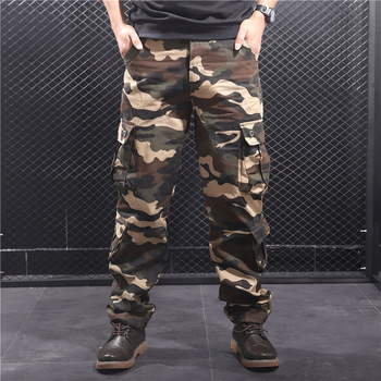 Kamuflażowe spodnie Cargo męskie kilka kieszeni bawełniane spodnie wojskowe moro spodnie wojskowe męskie Streetwear kombinezony Pantalon Homme tanie i dobre opinie Cargo pants CN (pochodzenie) Mieszkanie COTTON Kieszenie REGULAR SWG001 W stylu Safari Midweight Suknem Pełnej długości