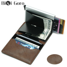 BISI GORO Top Quality Men Wallet Money Bag Mini Purse Vintage Automatical Aluminium Rfid Card Small Thin Smart