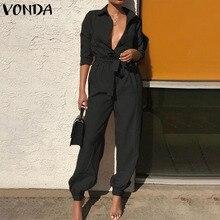 VONDA Sexy Overalls Rompers Womens Jumpsuits 2019 Autumn Pants Casual Vintage De