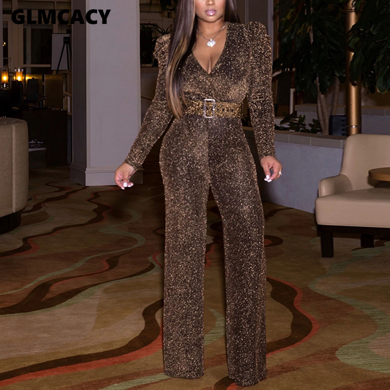 Women Belted Glitter Long Jumpsuit Wide Leg Pants Solid Sparkly Puff Sleeve One Piece Jumpsuit Sexy V Neck Club Outfits Overalls
